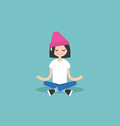 young girl meditating with closed eyes in lotus vector image