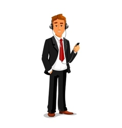 Man listens music in headphones with smatphone vector image