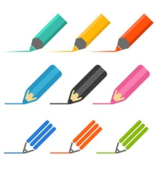 Color crayons and markers icons set vector image