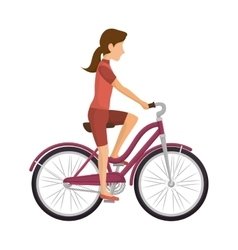 Cyclist woman riding bicycle vector