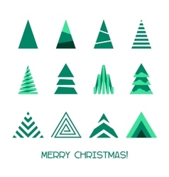 Merry christmas tree collection vector