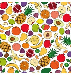 Colored fruits doodle seamless on white background vector