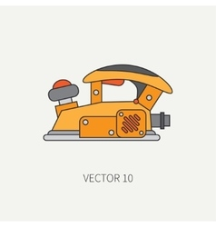 Line flat icon with building electrical vector