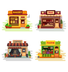 Set of different colorful shops bakery meat shop vector