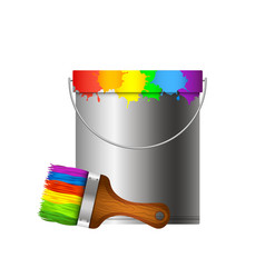 Bucket and paint brush vector