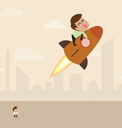 Businessman on launching rocket to the sky vector