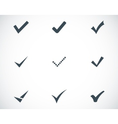 Black confirm icons set vector