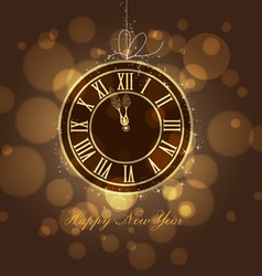 Happy new year gold clock vector