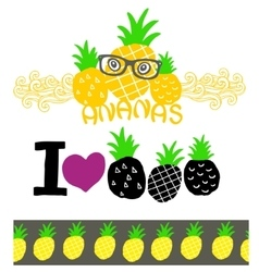 Set of labels with pineapple and seamless pattern vector
