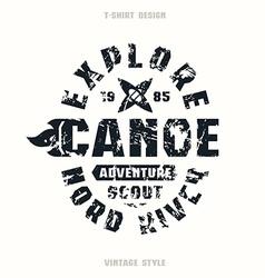 Adventure on canoe badge vector