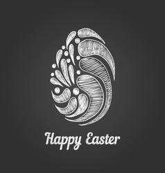 Greeting card with doodle easter egg-3 vector