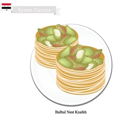 Bulbul nest knafeh or syrian cheese pastry vector