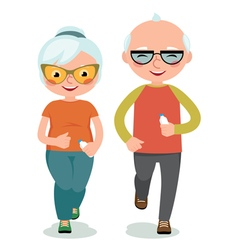 Mature couple engaged sportswear jogging vector