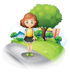 A girl standing at the street vector image vector image