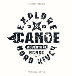 Adventure on canoe badge vector