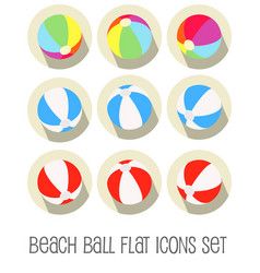 beach ball icon set flat vector image