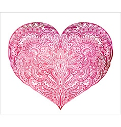 Beautiful hand drawn ornate heart in zentangle vector image