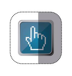 Blue emblem hand cursor vector