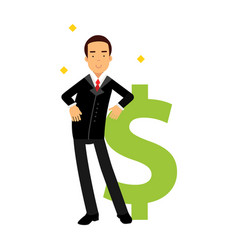 Businessman character leaning on a giant dollar vector