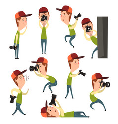 cartoon set of boy with camera in different vector image vector image