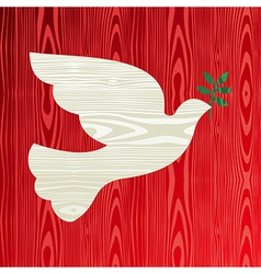 Christmas wooden dove of peace vector