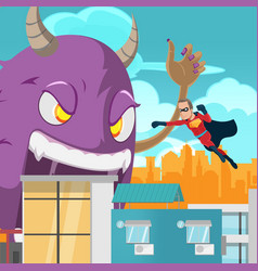 cities superhero monster battle action vector image