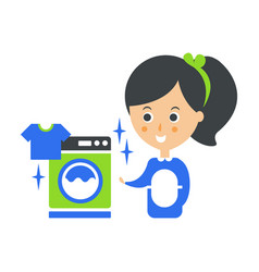 cleanup service maid and washing machine laundry vector image