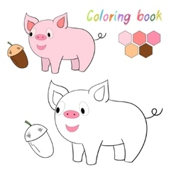 Coloring book pig kids layout for game vector