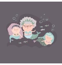 Cute mermaid grandmother with grandchildren vector