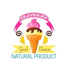 Dessert icon of vanilla ice cream and lemon vector