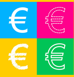 euro sign four styles of icon on four color vector image