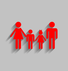 Family sign red icon with soft shadow on vector