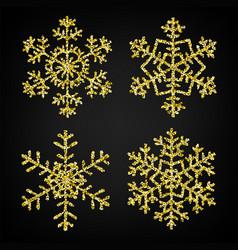 Golden glitter snowflakes vector