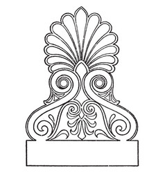 Greek akroter is an ornamental finish to the apex vector