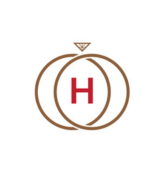 h letter ring diamond logo vector image vector image