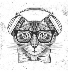 Hipster animal cat hand drawing muzzle of animal vector