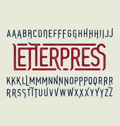 Letterpress printing style typeface with special vector
