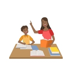 Mother and child doing homework together vector