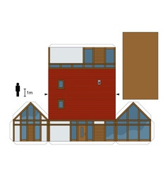 Paper model of a house vector image