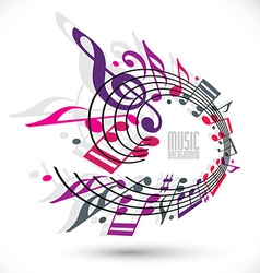 Pink and violet music background with clef and vector image