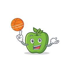 Playing basketball green apple character cartoon vector