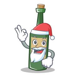 Santa wine bottle character cartoon vector