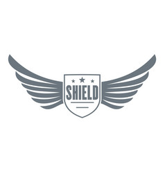 shield wing logo simple gray style vector image