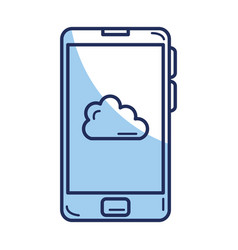 Smartphone device with cloud isolated icon vector