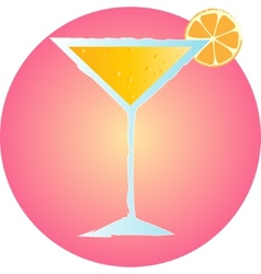 tropical summer cocktail hand drawn on pink vector image