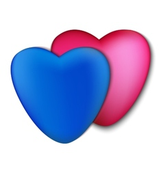 Two hearts pink and blue on a white background vector image vector image