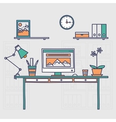 Workspace Hand drawn office interior or home vector image vector image