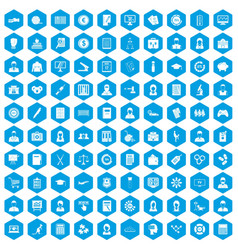 100 statistic data icons set blue vector