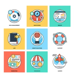 Flat color line design concepts icons 14 vector