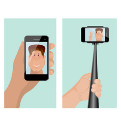 Taking a self portrait with monopod self portrait vector